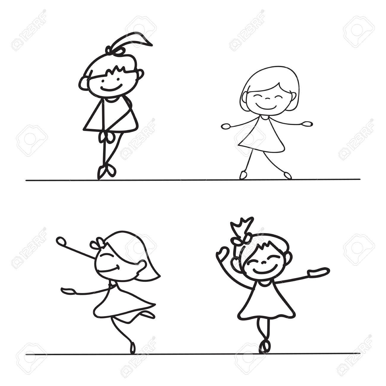 1300x1300 Hand Drawings Cartoon Happy Kid Happiness Concept Royalty Free