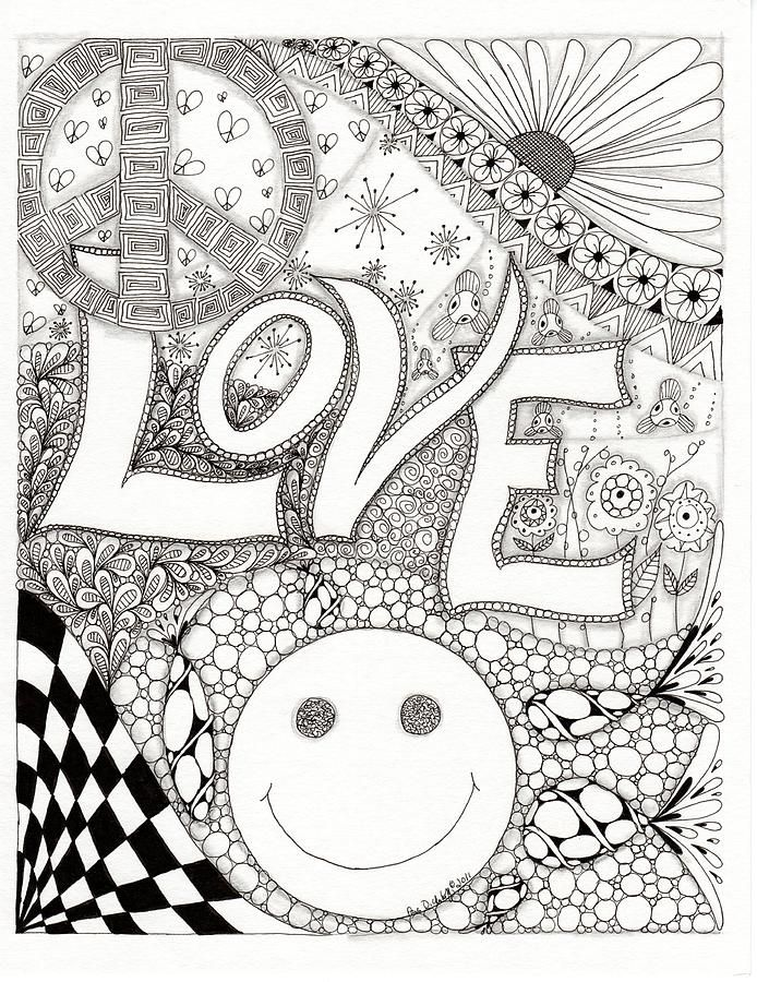 694x900 Peace Love And Happiness Drawing