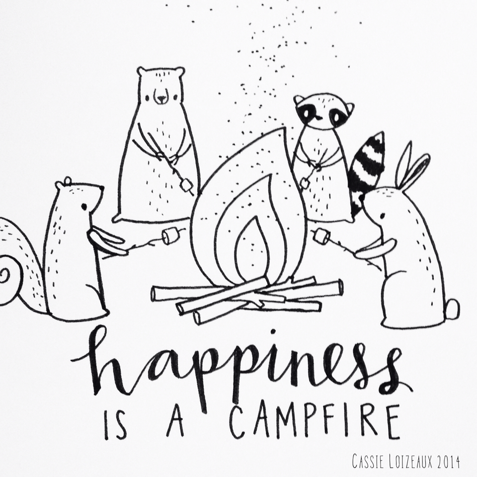 960x960 Campfire Happiness. Day 156 Of Yearlong Sketchbook Project. Cassie