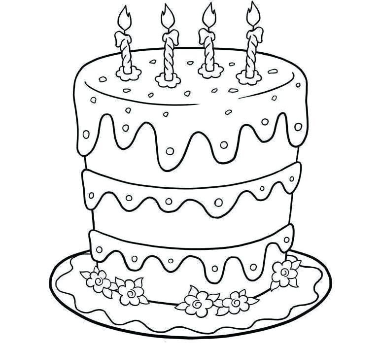 773x702 Cake Pictures To Color Delicious Happy Birthday Cake Coloring Page