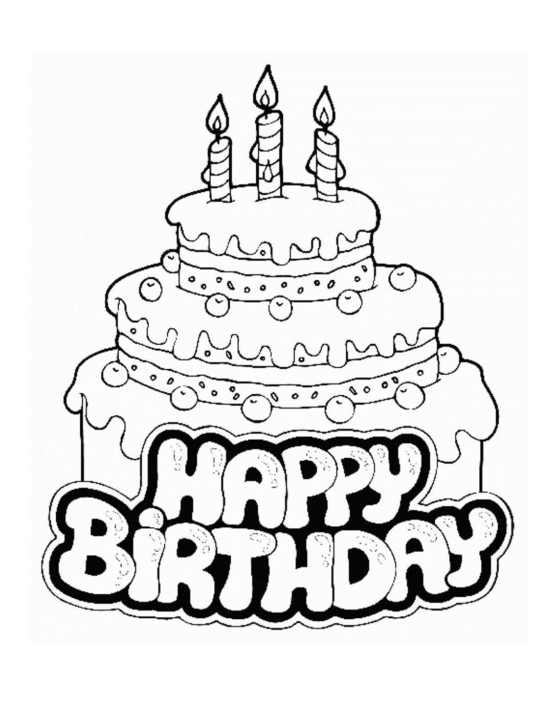 1089x1408 Coloring Pages Birthday Cake Printable
