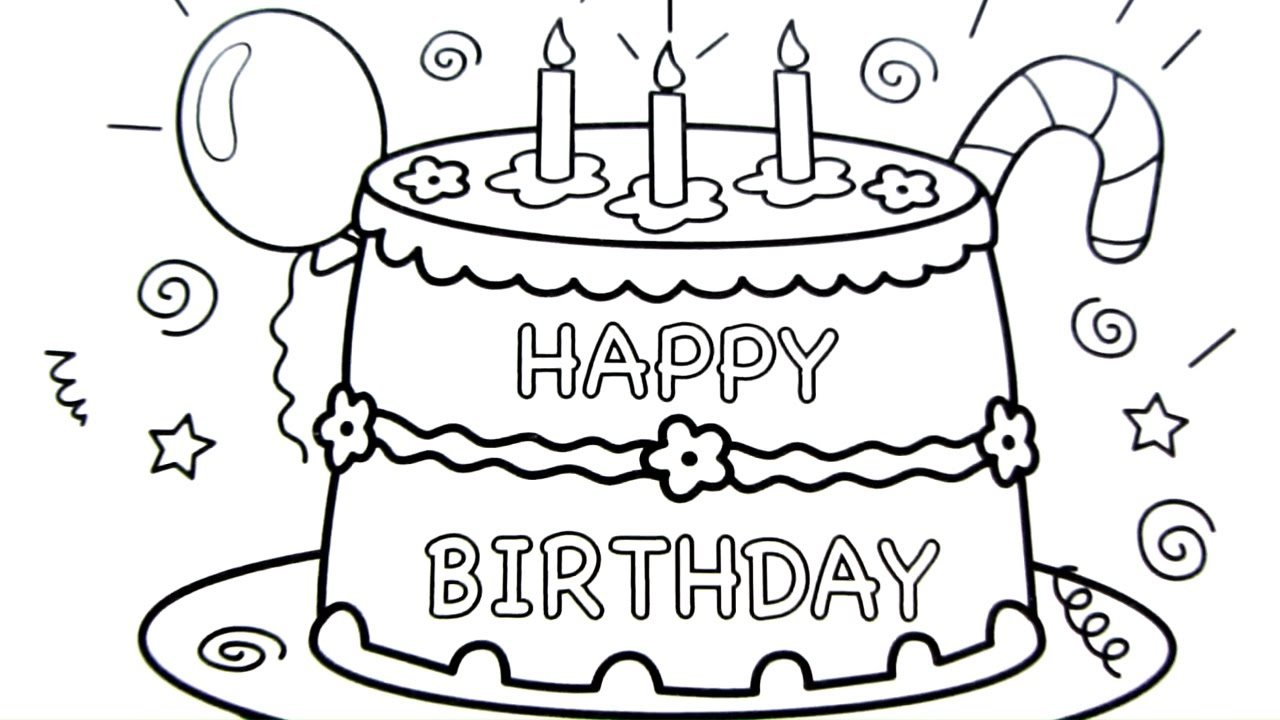 1280x720 Drawing Of Happy Birthday Happy Birthday Cake Drawing Pages