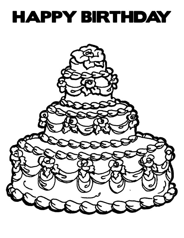 600x776 Expensive Birthday Cake Coloring Pages