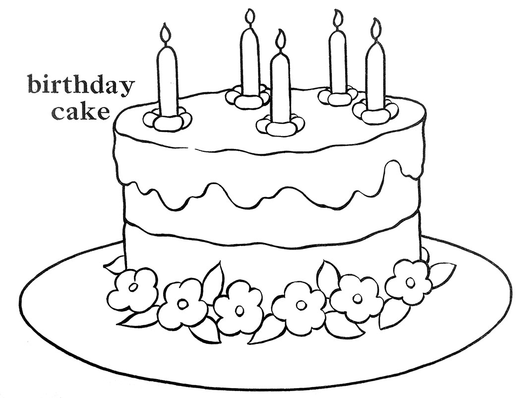 1073x802 Happy Birthday Cake Coloring Pages Netart Creative Ideas