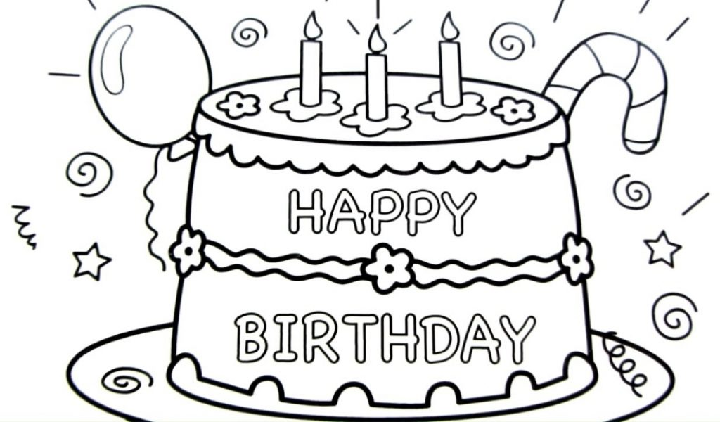 1024x600 Happy Birthday Cake Drawing Pages, Coloring Book, Fun Art Colours
