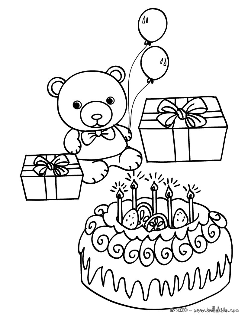 821x1061 birthday cake teddy bear coloring pages