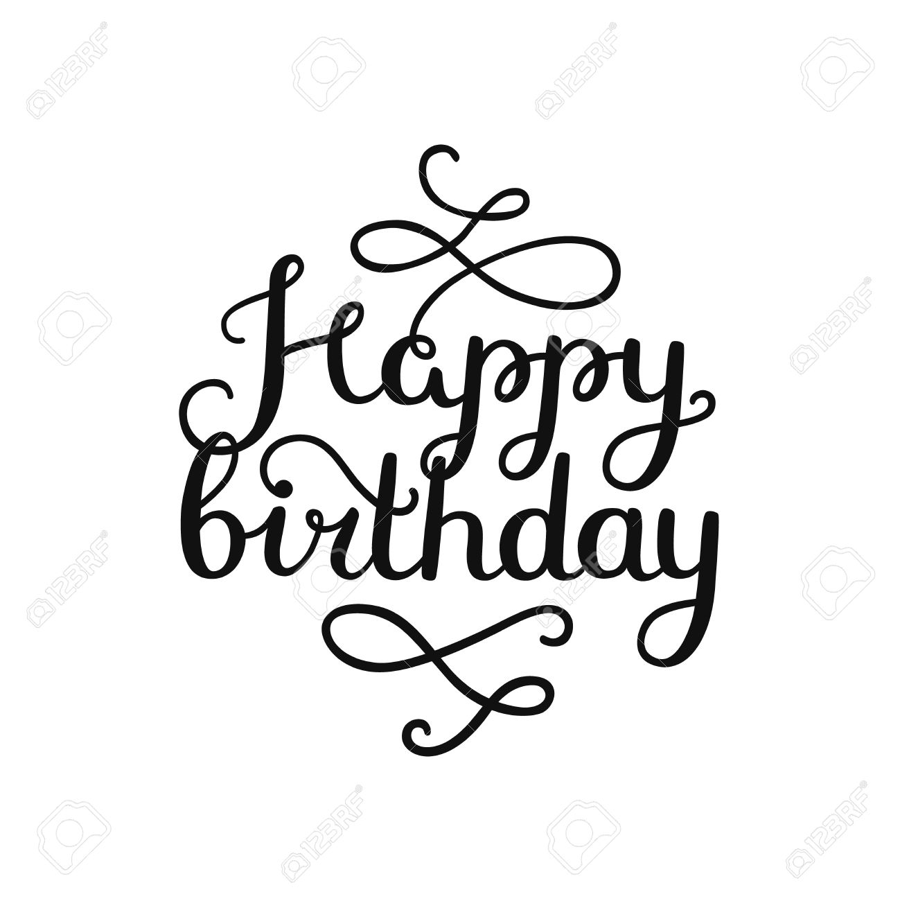 1299x1300 Happy Birthday Card With Hand Drawn Lettering, Isolated On White