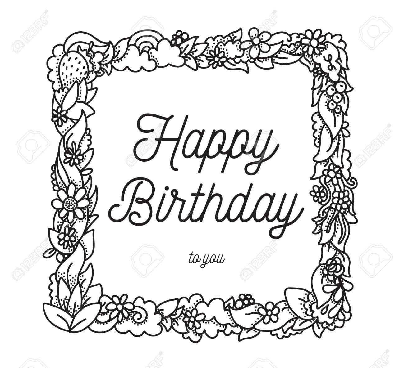 1300x1186 Happy Birthday Inscription In Hand Drawn Square Frame. Greeting
