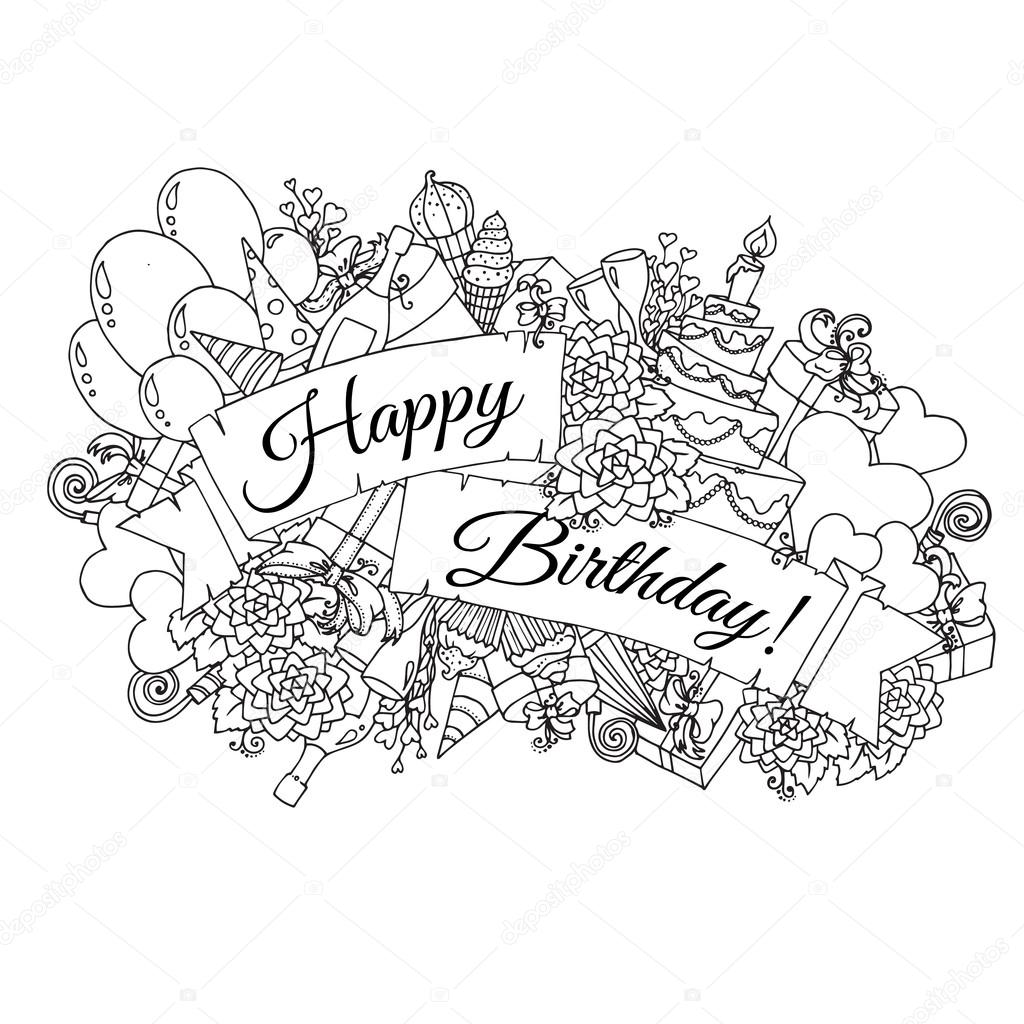 1024x1024 Happy Birthday Background For Card. Hand Drawn Doodles Gift Boxes