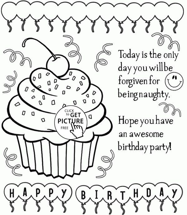 600x689 New Happy Birthday Card Printable Coloring Pages 17 In