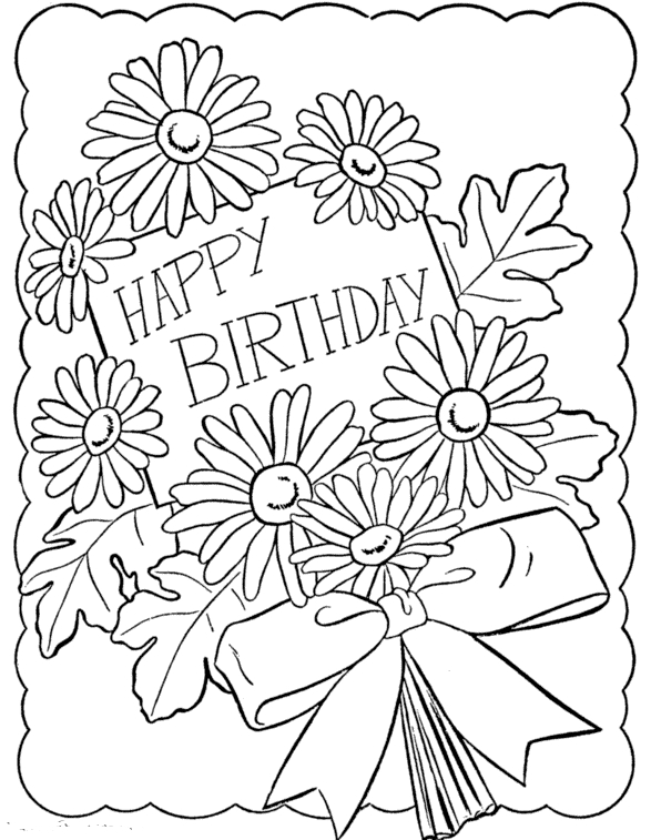 587x757 Printable Happy Birthday Coloring Cards Coloring Pages