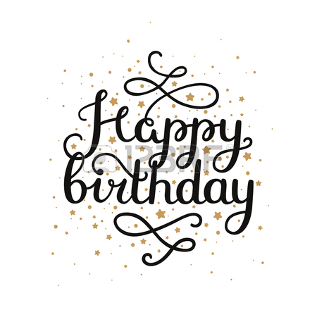 450x450 Happy Birthday Card With Hand Drawn Lettering On Background