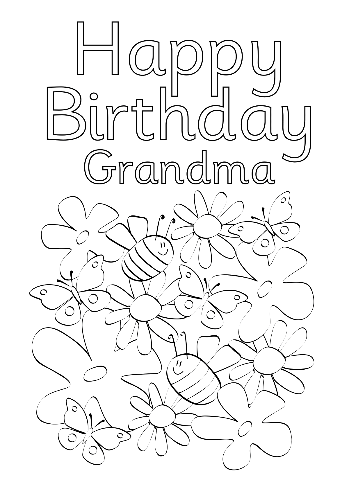 1200x1653 Happy Birthday Grandma Coloring Pages