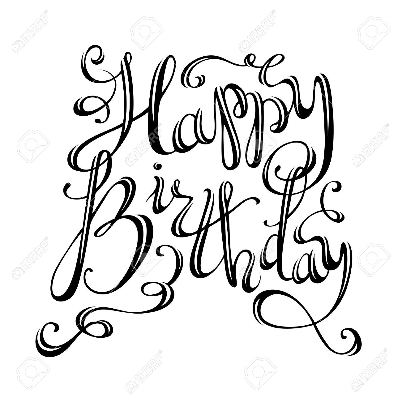 1300x1300 Happy Birthday Lettering. Vector Hand Written Isolated Phrase