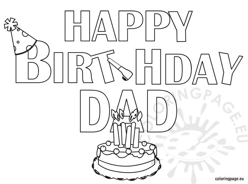 804x595 Happy Birthday Dad Coloring Page
