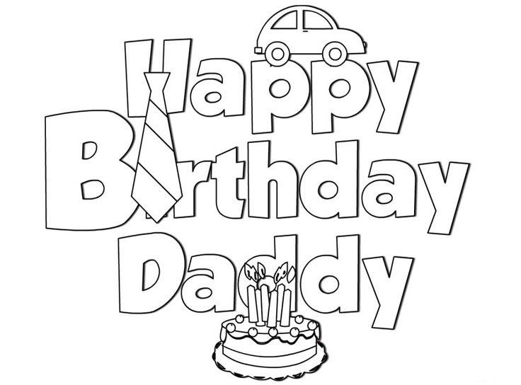 736x544 Appealing Happy Birthday Daddy Coloring Pages 83 For Picture