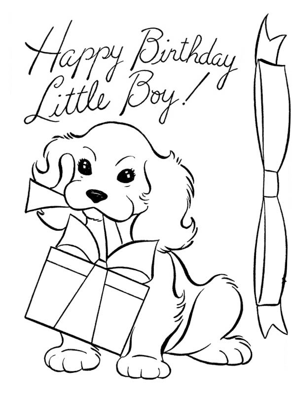 Line Drawing Pics 2 600x801 A Dog And Happy Birthday Present Coloring Page Color Luna