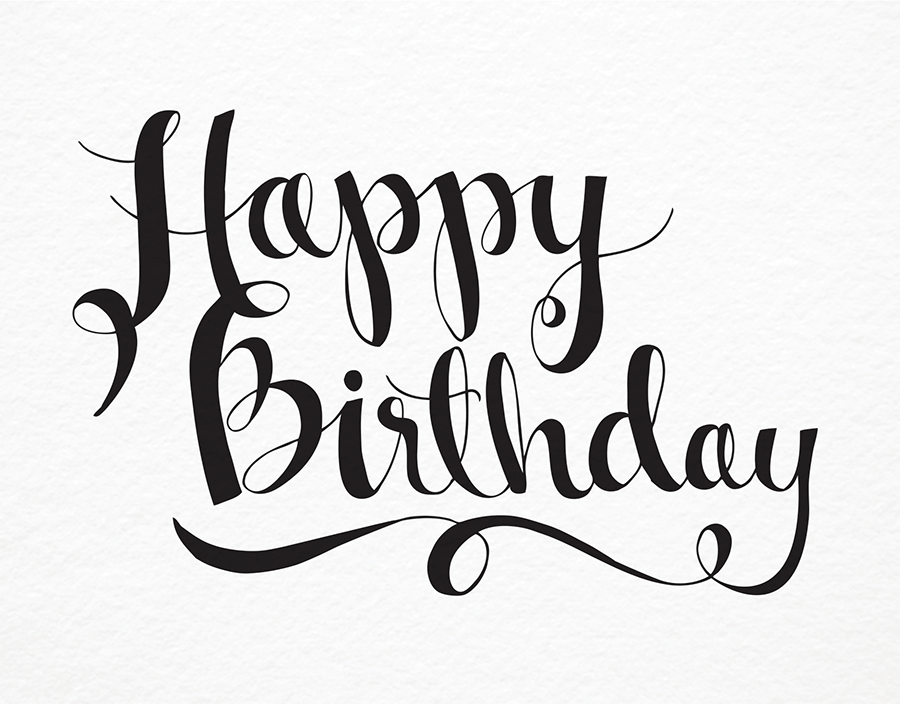 900x704 Happy Birthday Script By 9th Letter Press Postable