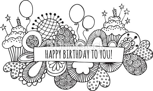536x321 Vector Art Happy Birthday To You Hand Drawn Doodle Vector