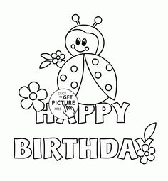 236x255 Happy Birthday Card With Ladybug Coloring Page For Kids, Holiday