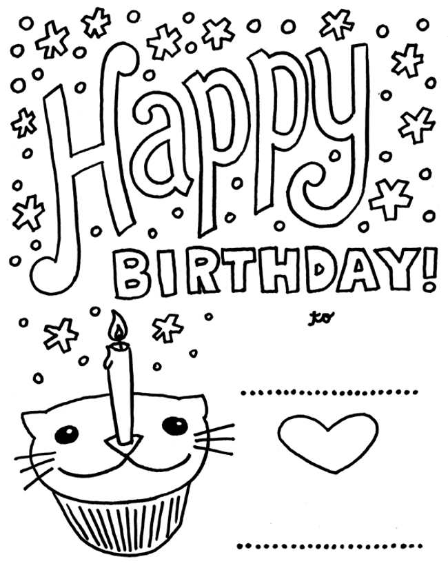 650x840 Happy Birthday Coloring Cards Page Image Clipart Images