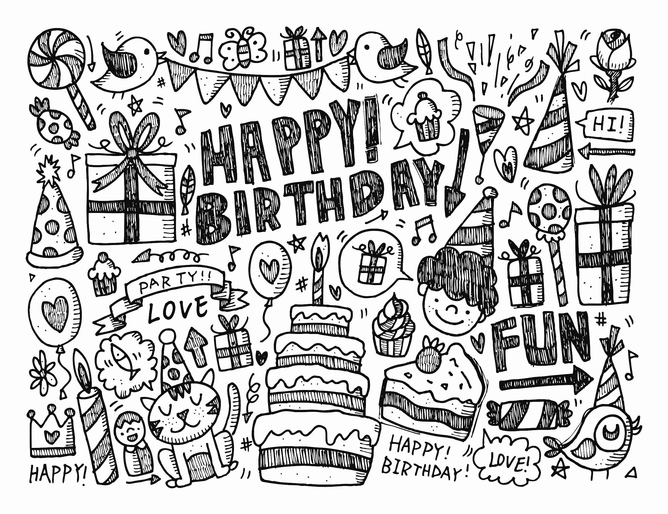 2335x1796 Doodle Happy Birthday By Notkoo2008 The Best Coloring Books For
