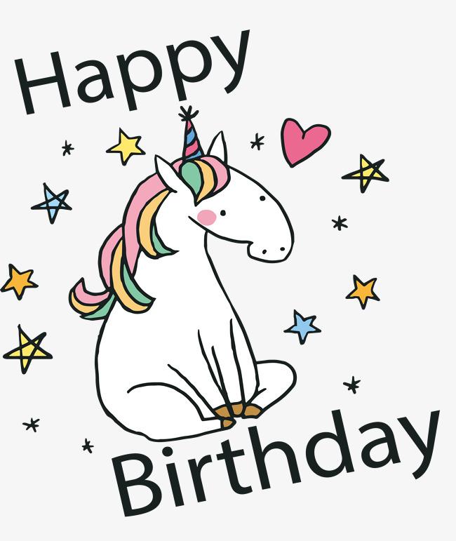 650x771 Hand Painted Unicorn Birthday Card, Vector Png, Happy Birthday