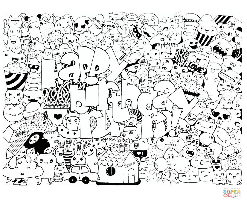 826x681 Happy Birthday Doodle Coloring Page Free Printable Pages