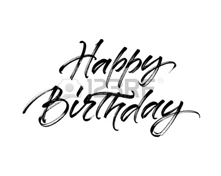 450x360 Happy Birthday Greeting Card Template. Hand Drawn Calligraphy