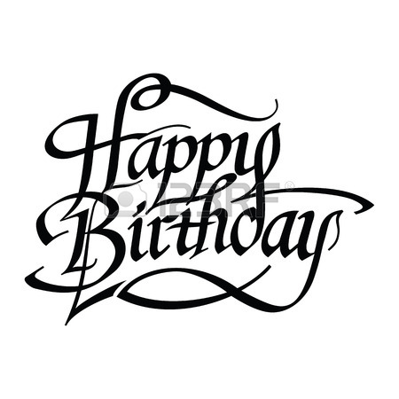 450x450 Happy Birthday Inscription. Vector Greeting Card With Happy