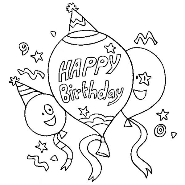 600x600 Three Happy Birthday Baloon Coloring Page Color Luna