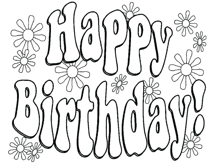 736x571 Happy Birthday Coloring Pages To Print Cards Best Ideas On Free