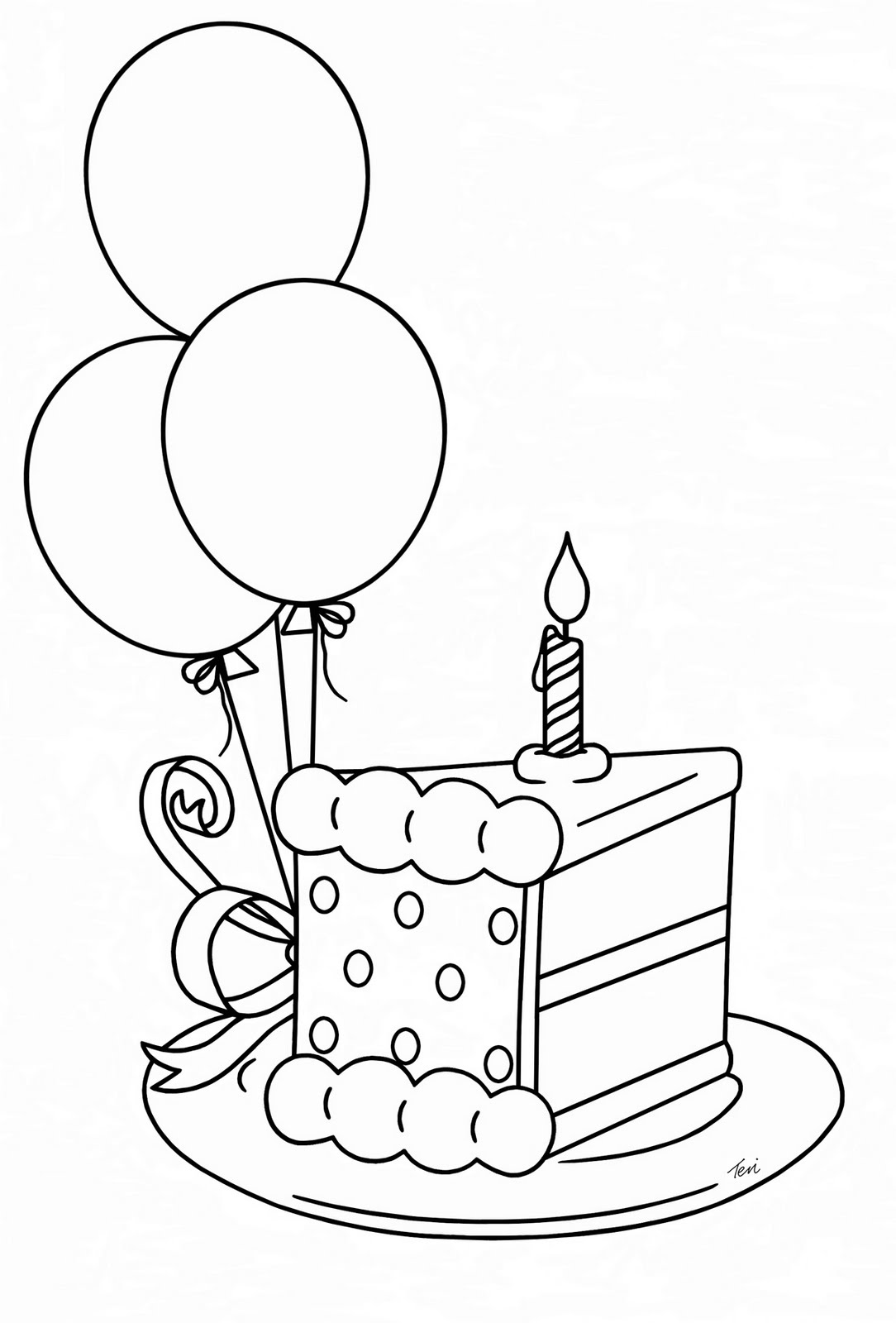 1084x1600 Happy Birthday Theme With Cake Color Illustration Drawing