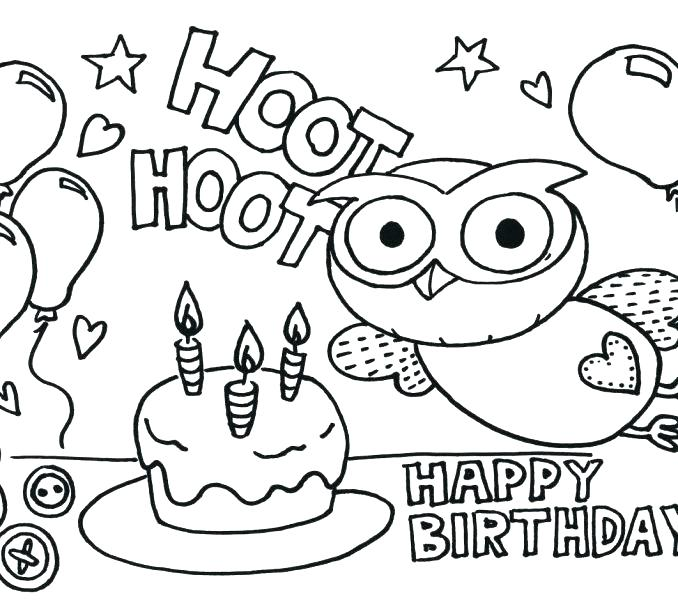 678x600 Inspirational Happy Birthday Coloring Pages For Kids Print Best