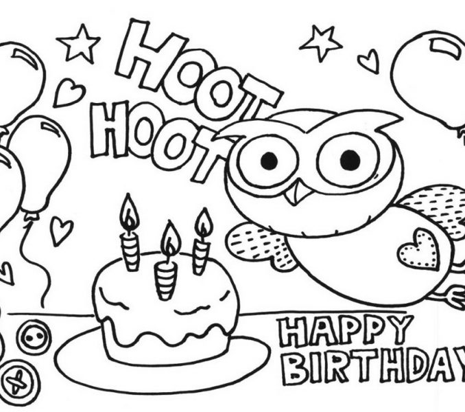678x600 Drawing Sheets For Colouring Hoot Birthday Cake Drawing Art