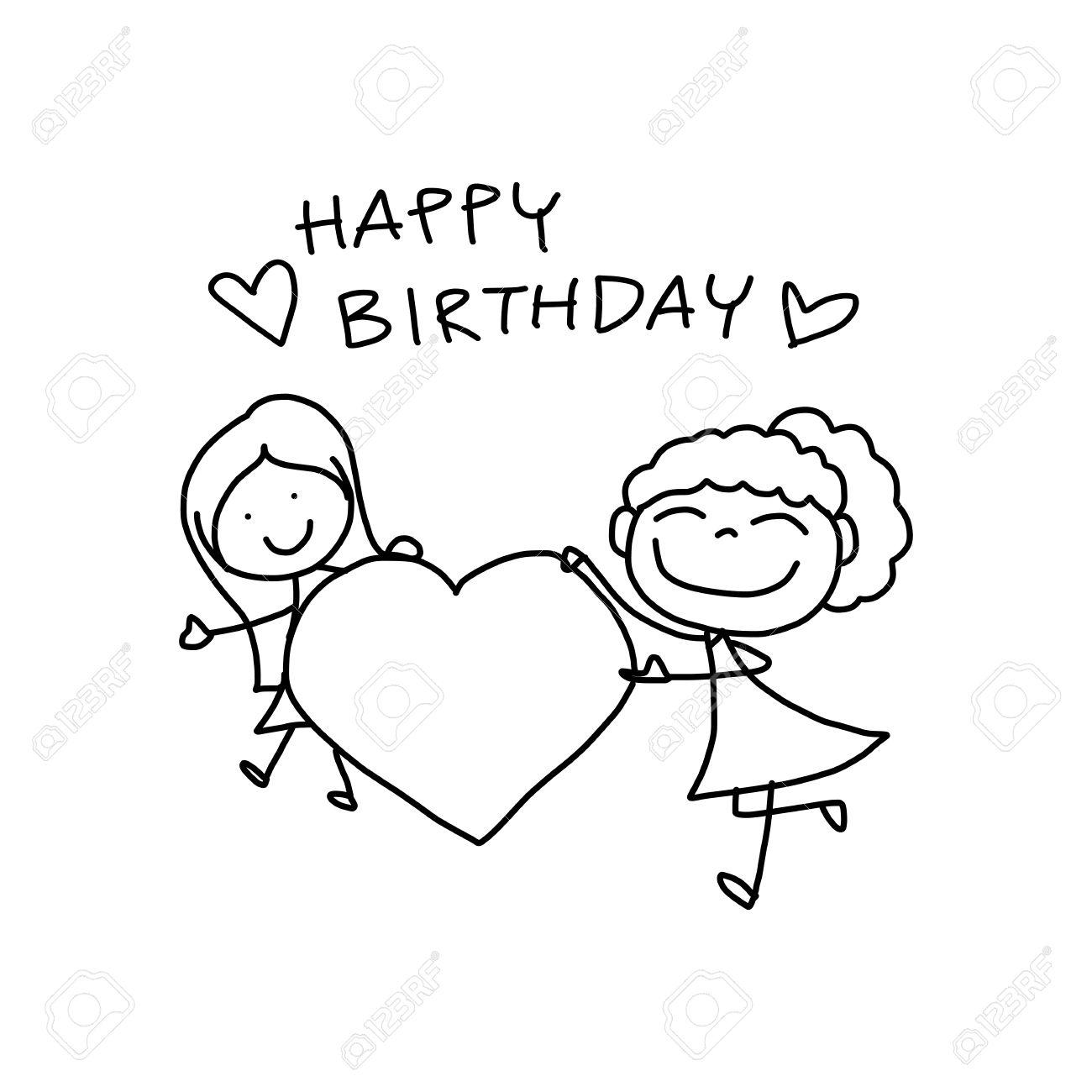 1300x1300 Hand Drawing Cartoon Happy Birthday Royalty Free Cliparts, Vectors