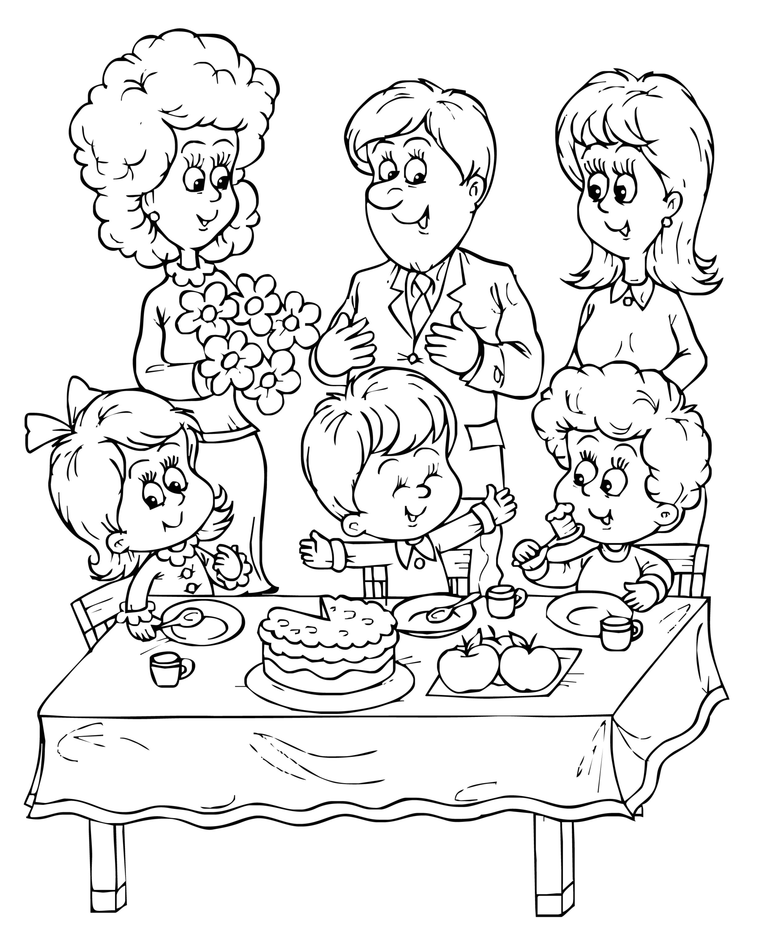 2454x3054 Happy Birthday Coloring Pages Hello Kitty And Cake Surprising
