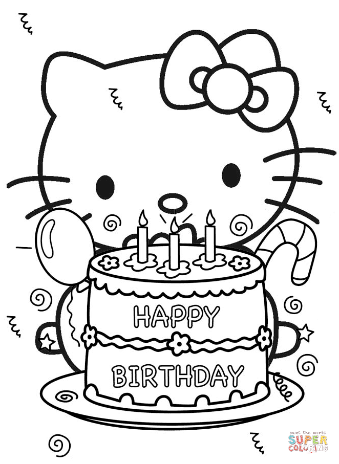662x907 Happy Birthday Hello Kitty Coloring Page Free Printable Coloring