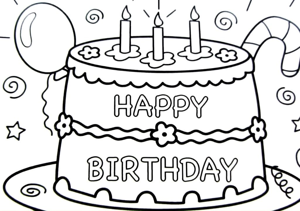 1024x720 Spectacular Inspiration Cake Drawing And Charming Happy Birthday