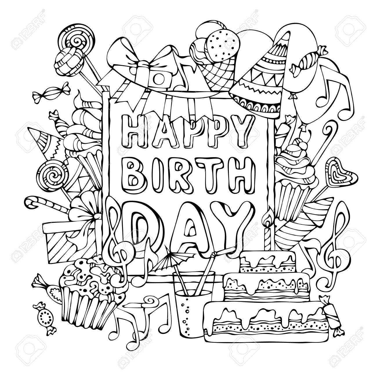 1300x1300 Happy Birthday Background. Hand Drawn Festive Outlines On White