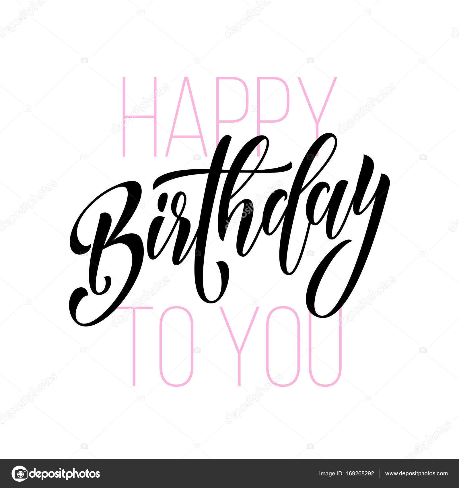 1600x1700 Happy Birthday Greeting Card Calligraphy Hand Drawn Vector Modern