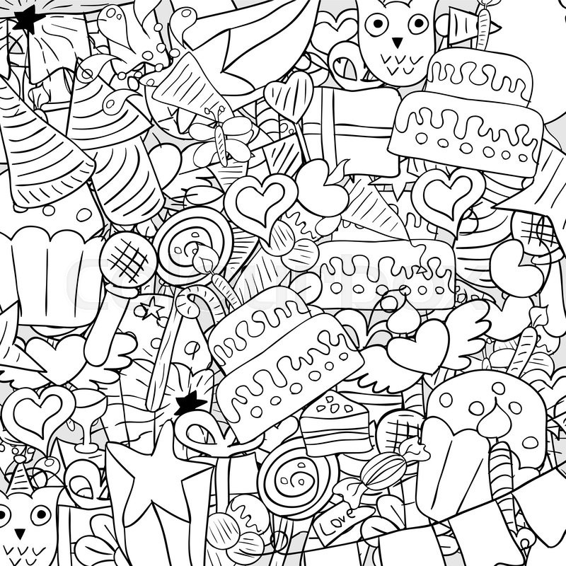 800x800 Happy Birthday Doodles Background, Drawing By Hand Vector Stock