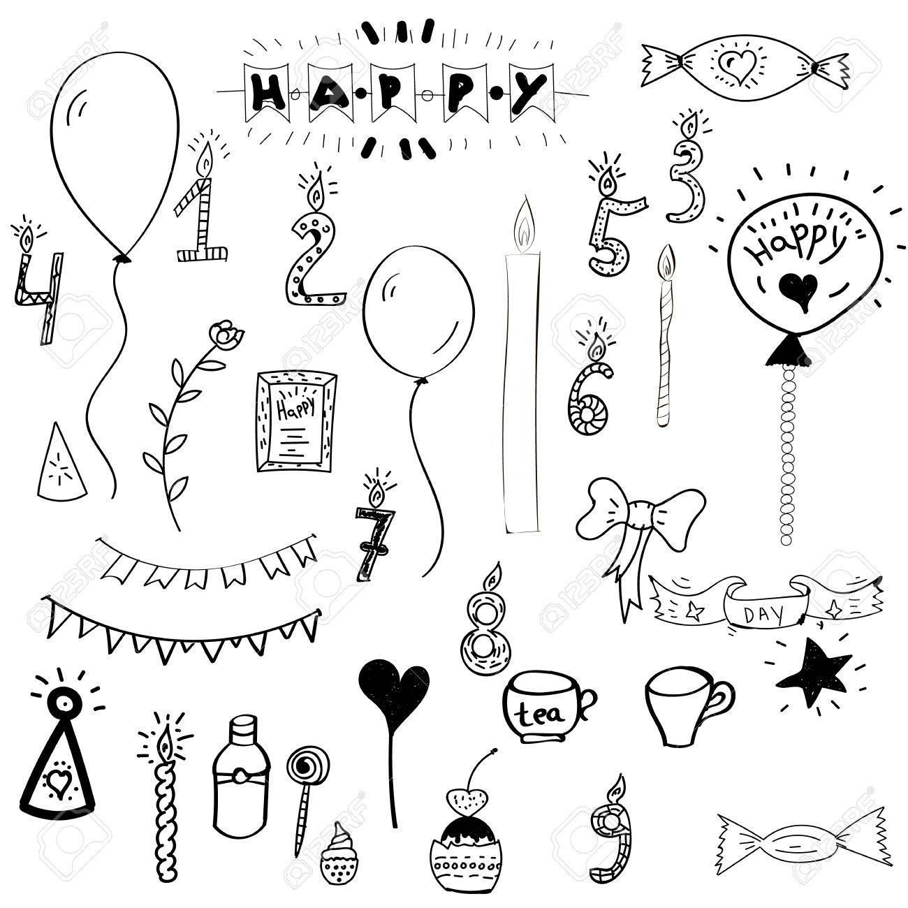 1300x1300 Set Hand Drawn Happy Birthday Collection With Cake, Party Elements