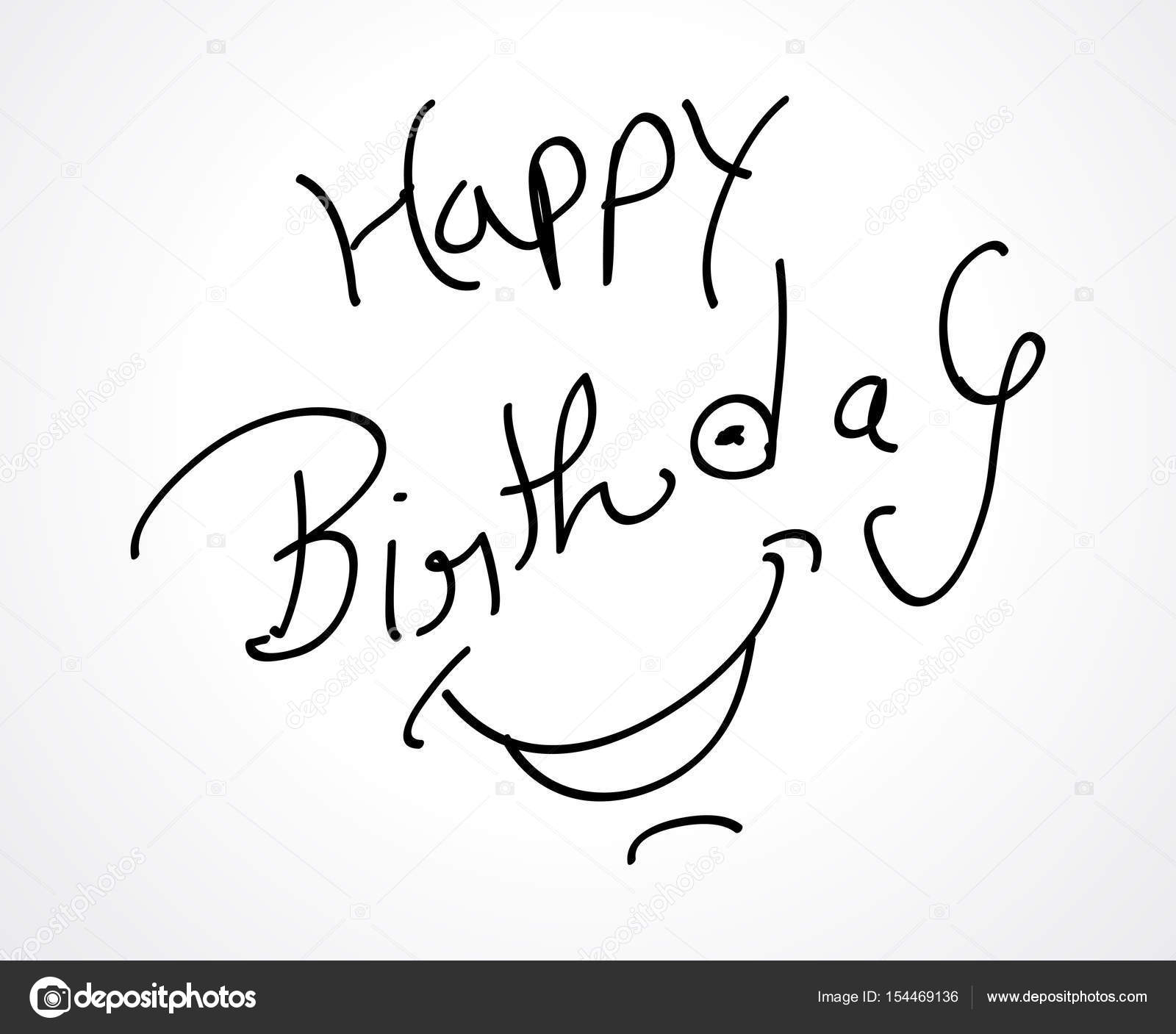 1600x1407 Hand Sketch Happy Birthday Card Design Stock Vector Gurukripa