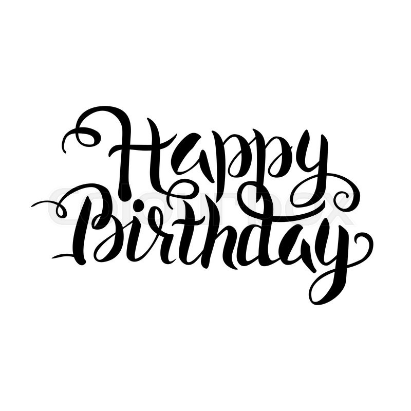 800x800 Black Happy Birthday Lettering Over White. Vector Illustration