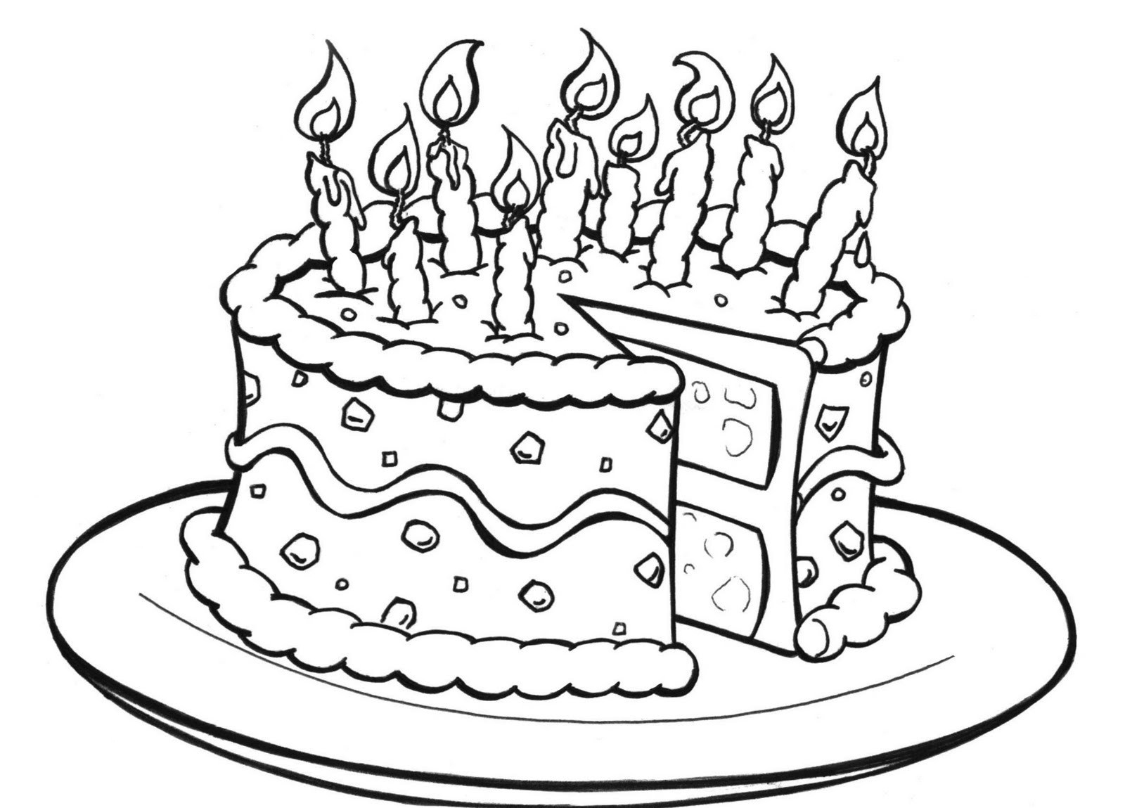 Birthday Coloring Pages Printable Happy Line Drawing At GetDrawings
