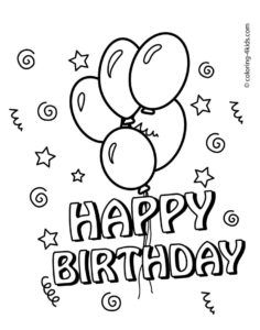 236x300 Happy Birthday Coloring Pages With Balloons For Kids Coloring
