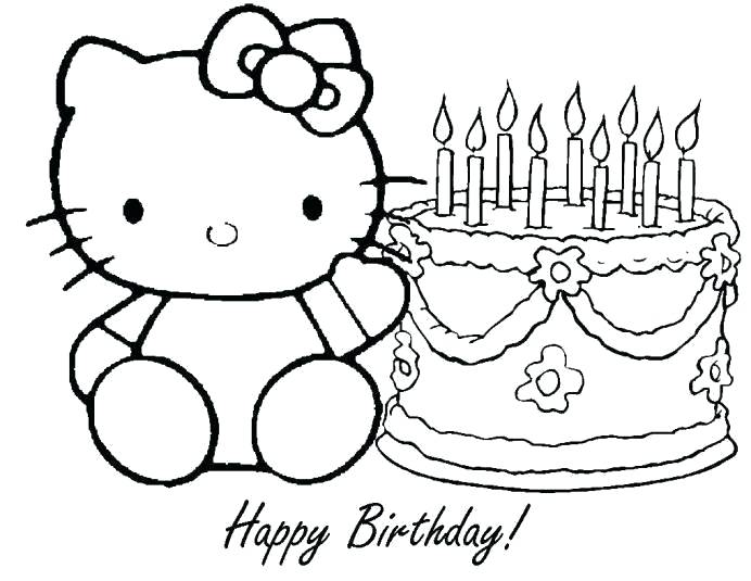 692x535 Hello Kitty Happy Birthday Coloring Pages Happy Birthday Hello