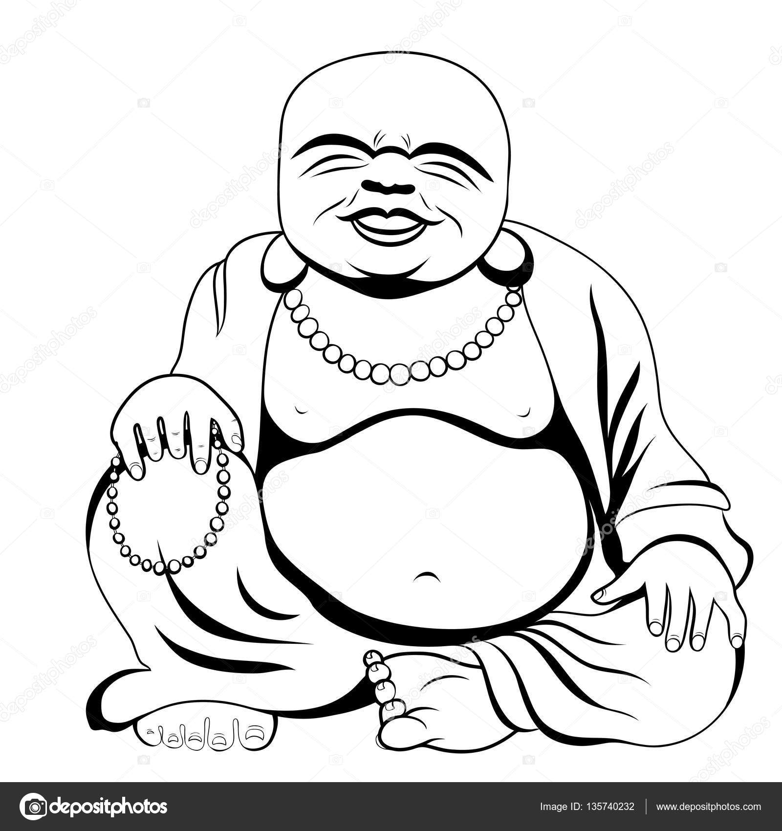 1600x1700 Laughing Buddha Or Hotei Sitting. Vector Illustration. Stock