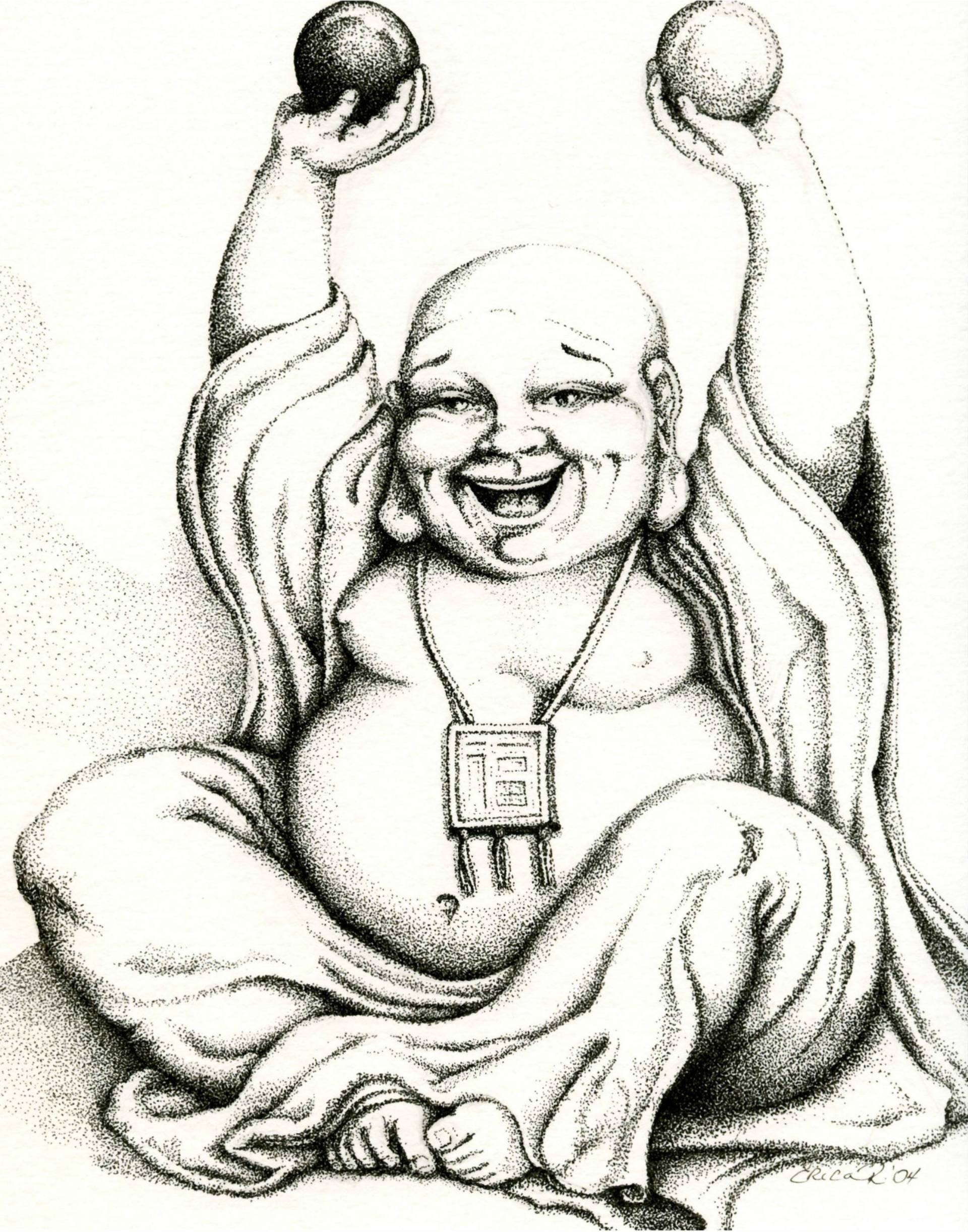 1920x2444 Saatchi Art Hotei The Laughing Buddha Drawing By Erica Richards
